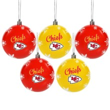 Kansas City Chiefs NFL 5 Pk Shatterproof Ball Ornaments