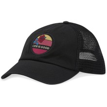 Life is Good Hibiscus Sun Soft Mesh Back Chill Cap - Night Black | Adjustable