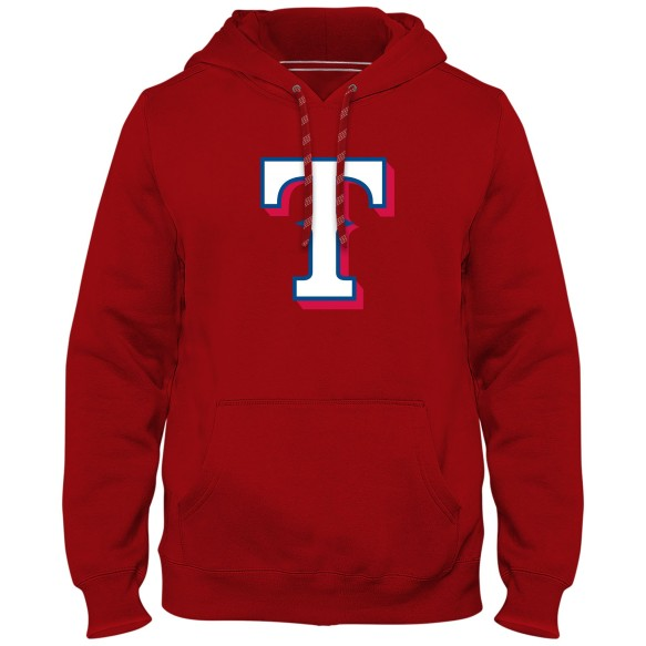 Texas Rangers MLB Express Twill Logo Hoodie - Red