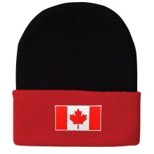 Canada MyCountry 2-Tone Knit Beanie Hat - Black-Red