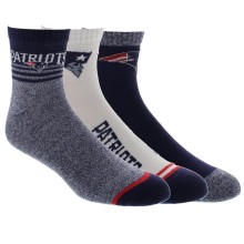 New England Patriots NFL 2019 Men's 3-Pack Quarter Socks