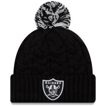 Oakland Raiders Women's NFL Cozy Cable Knit Cuff Pom Hat