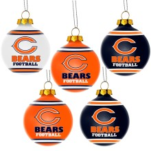 Chicago Bears NFL 5 Pk Shatterproof Ball Ornaments