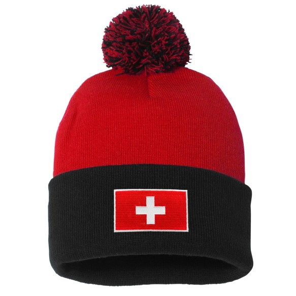 Switzerland MyCountry Cuff Pom Knit Hat - Red-Black