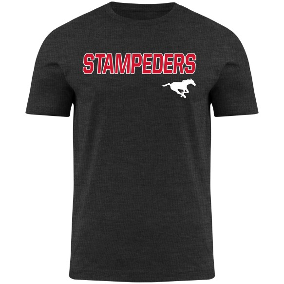 Calgary Stampeders CFL Twill applique Home Field Heathered T-Shirt - Charcoal