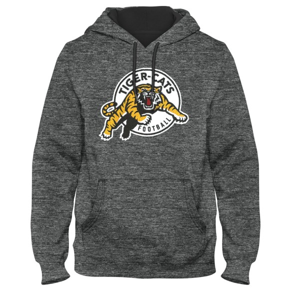 Hamilton Tiger-Cats CFL Poly Express Twill Logo Hoodie - Grey Melange
