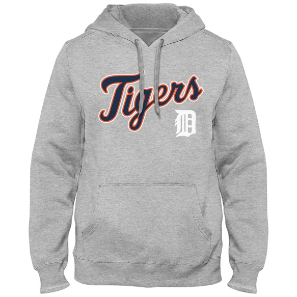 Detroit Tigers MLB Express Twill Applique Home Field Hoodie - Athletic Gray