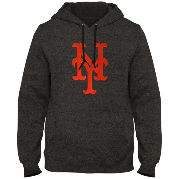 New York Mets MLB Express Twill Logo Hoodie - Twisted Charcoal