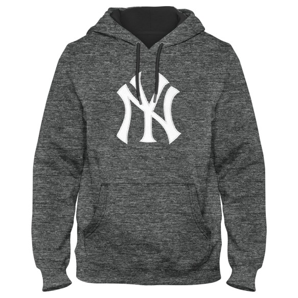 New York Yankees Poly Express Twill Logo Hoodie - Grey Melange