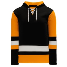 Pittsburgh Skate Lace Athletic Pro Hockey Jersey Hoodie - Black