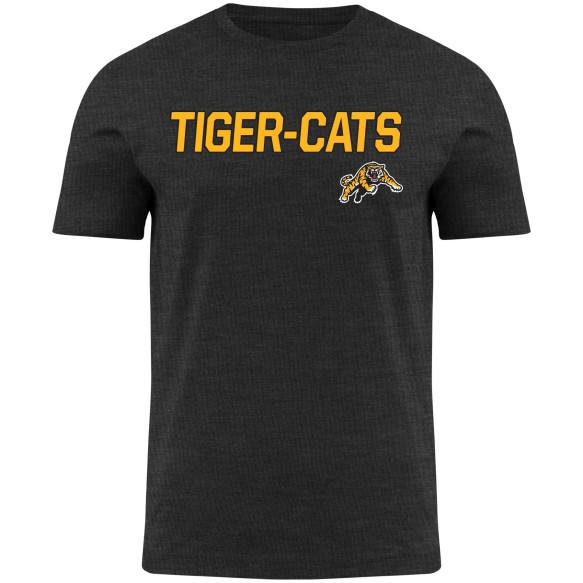 Hamilton Tiger-Cats CFL Twill applique Home Field Heathered T-Shirt - Charcoal