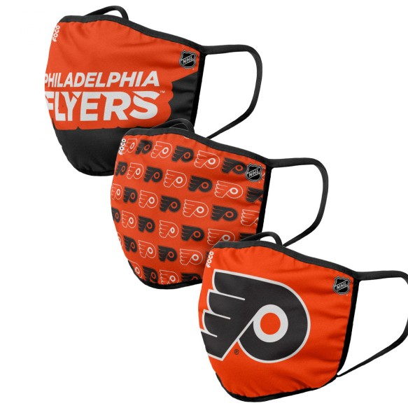 Philadelphia Flyers NHL FOCO Gametime Face Cover Mask - 3-pack