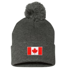 Canada MyCountry Cuff Pom Knit Hat - Charcoal