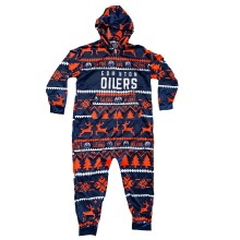 Edmonton Oilers NHL Unisex Holiday Wordmark Onesie Hooded Pajamas