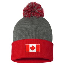 Canada MyCountry Cuff Pom Knit Hat - Dark Heather-Red