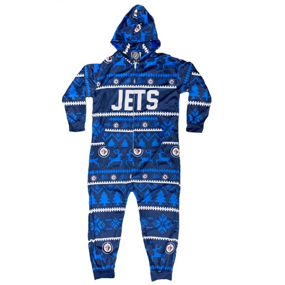 Winnipeg Jets NHL Unisex Holiday Wordmark Onesie Hooded Pajamas