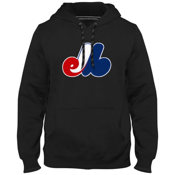 Montreal Expos Cooperstown MLB Express Twill Logo Hoodie - Black