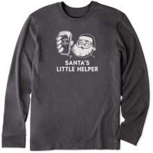 Life is Good Men's Santa's Little Helper Long Sleeve Crusher Tee