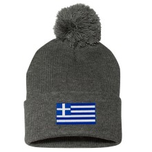Greece MyCountry Cuff Pom Knit Hat - Charcoal