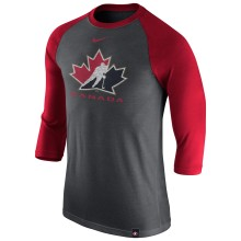 Team Canada IIHF Tri-Blend Raglan 3/4 Sleeve T-Shirt - Red