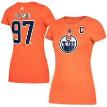 Edmonton Oilers Connor McDavid Adidas Women's NHL Player Name & Number T-Shirt - Orange