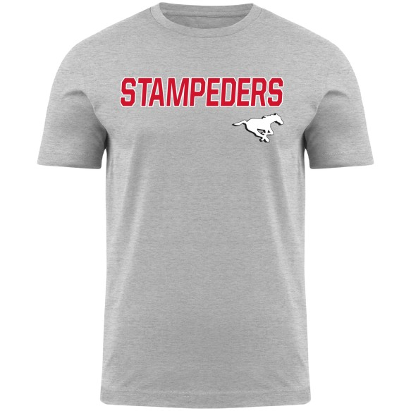 Calgary Stampeders CFL Twill applique Home Field T-Shirt - Grey