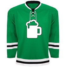 St. Patrick's Day Irish Beer Guzzler Hockey Jersey - Kelly