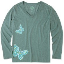 Life is Good Women's Mosaic Butterflies Cool Long Sleeve Vee