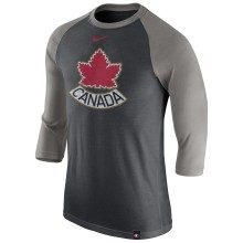 Team Canada IIHF Tri-Blend Raglan 3/4 Sleeve T-Shirt - Gray