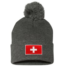 Switzerland MyCountry Cuff Pom Knit Hat - Charcoal