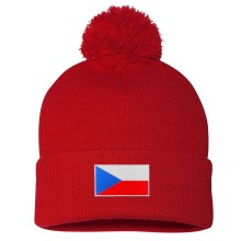 Czech Republic MyCountry Cuff Pom Knit Hat - Red