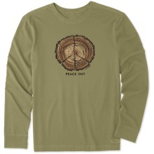 Life is Good Men's Peace Out Long Sleeve Crusher Tee - Fatigue Green