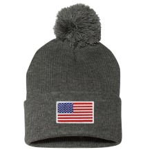 USA MyCountry Cuff Pom Knit Hat - Charcoal