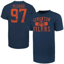 Edmonton Oilers Connor McDavid '47 NHL Player Distressed T-Shirt