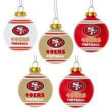 San Francisco 49ers NFL 5 Pk Shatterproof Ball Ornaments
