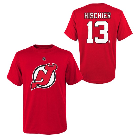 New Jersey Devils Nico Hischier NHL YOUTH Player Name & Number T-Shirt