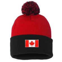 Canada MyCountry Cuff Pom Knit Hat - Red-Black