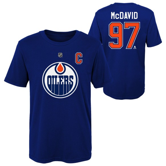 Edmonton Oilers Connor McDavid NHL YOUTH Player Name & Number T-Shirt - Navy