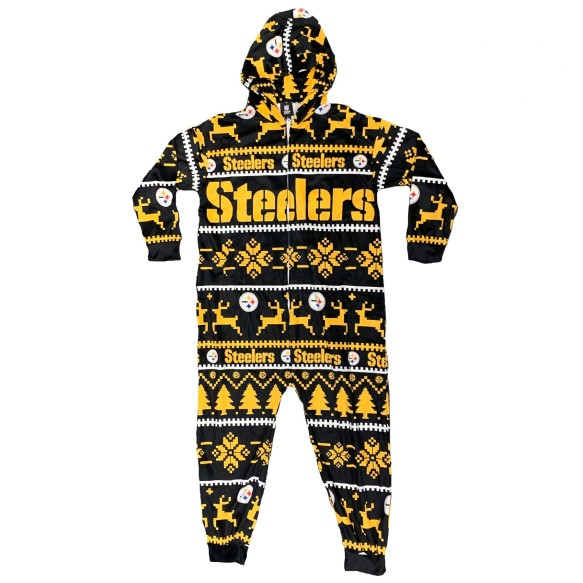 Pittsburgh Steelers NFL Unisex Holiday Wordmark Onesie Hooded Pajamas