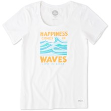 Life is Good Women's Happiness Comes In Waves Crusher Scoop Neck Tee