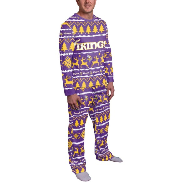 Minnesota Vikings NFL Men's Holiday Wordmark Ugly 2 Piece Pajama Set