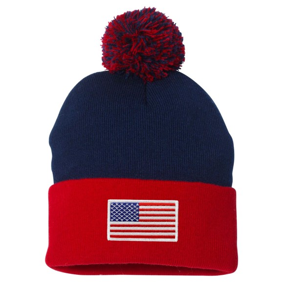 USA MyCountry Cuff Pom Knit Hat - Navy-Red
