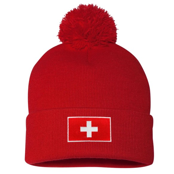 Switzerland MyCountry Cuff Pom Knit Hat - Red