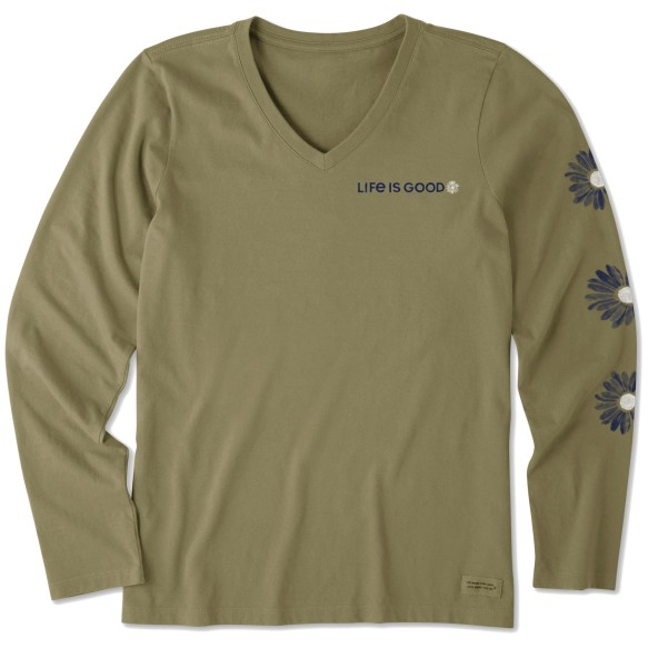 Life is Good Women's Daisies Long Sleeve Crusher Tee - Fatigue Green