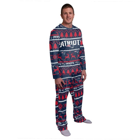 New England Patriots NFL Men's Holiday Wordmark Ugly 2 Piece Pajama Set