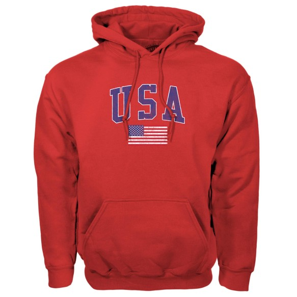 USA MyCountry Vintage Pullover Hoodie - Red
