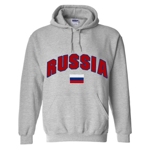 Russia MyCountry Pullover Arch Hoodie (Sport Gray)