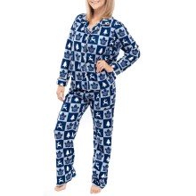 Toronto Maple Leafs NHL Women's Holiday Ugly 2-Piece Button-Up Pajama Set