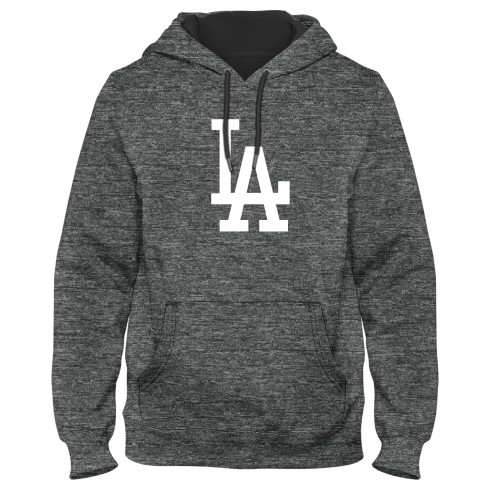Los Angeles Dodgers MLB Poly Express Twill Logo Hoodie - Grey Melange