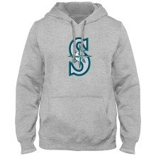 Seattle Mariners MLB Express Twill Logo Hoodie - Athletic Gray